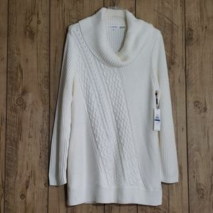 CALVIN KLEIN WHITE CABLE KNIT SWEATER SZ XL NWT